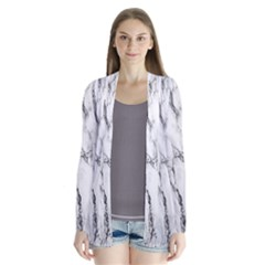 Marble Granite Pattern And Texture Drape Collar Cardigan by Samandel