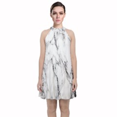 Marble Granite Pattern And Texture Velvet Halter Neckline Dress