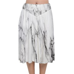 Marble Granite Pattern And Texture Velvet Flared Midi Skirt
