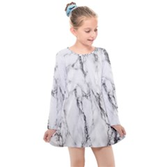 Marble Granite Pattern And Texture Kids  Long Sleeve Dress