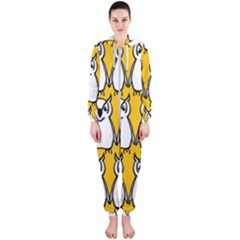 Yellow Owl Background Hooded Jumpsuit (ladies)