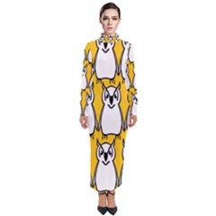 Yellow Owl Background Turtleneck Maxi Dress
