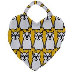 Yellow Owl Background Giant Heart Shaped Tote by Samandel