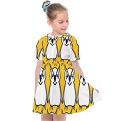Yellow Owl Background Kids  Sailor Dress