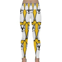 Yellow Owl Background Lightweight Velour Classic Yoga Leggings