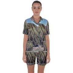Mount Batok Bromo Indonesia Satin Short Sleeve Pyjamas Set