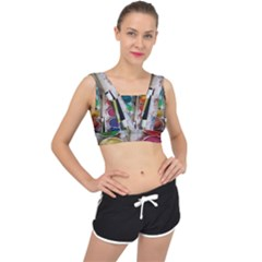 Paint Box V Back Sports Bra by Samandel