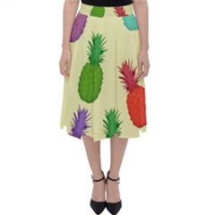 Colorful Pineapples Wallpaper Background Classic Midi Skirt
