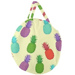 Colorful Pineapples Wallpaper Background Giant Round Zipper Tote