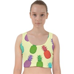Colorful Pineapples Wallpaper Background Velvet Racer Back Crop Top