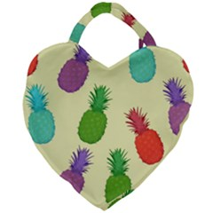 Colorful Pineapples Wallpaper Background Giant Heart Shaped Tote by Samandel