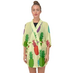 Colorful Pineapples Wallpaper Background Half Sleeve Chiffon Kimono