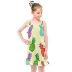 Colorful Pineapples Wallpaper Background Kids  Overall Dress
