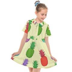 Colorful Pineapples Wallpaper Background Kids  Short Sleeve Shirt Dress