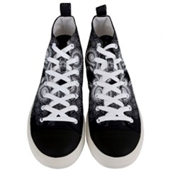 Fractal Filigree Lace Vintage Men s Mid Top Canvas Sneakers