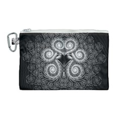 Fractal Filigree Lace Vintage Canvas Cosmetic Bag (large) by Samandel