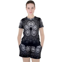 Fractal Filigree Lace Vintage Women s Tee And Shorts Set