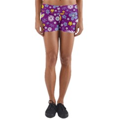 Floral Flowers Yoga Shorts