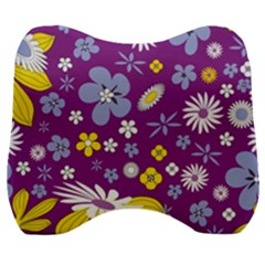 Floral Flowers Velour Head Support Cushion