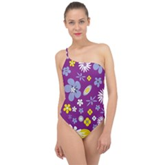 Floral Flowers Classic One Shoulder Swimsuit