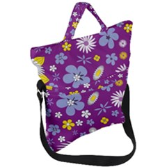 Floral Flowers Fold Over Handle Tote Bag