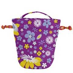 Floral Flowers Drawstring Bucket Bag