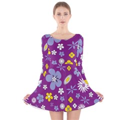 Floral Flowers Long Sleeve Velvet Skater Dress