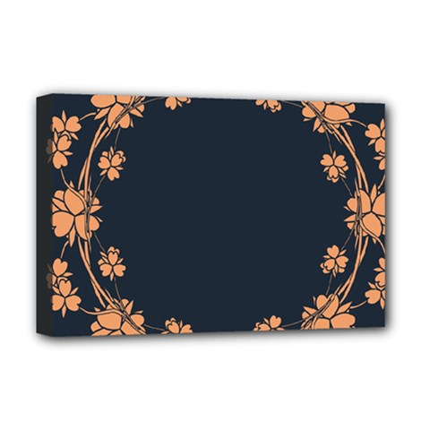 Floral Vintage Royal Frame Pattern Deluxe Canvas 18  X 12  (stretched)
