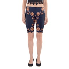 Floral Vintage Royal Frame Pattern Yoga Cropped Leggings