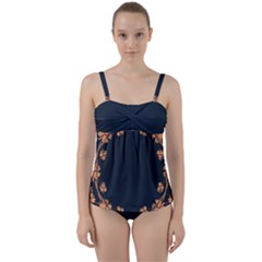 Floral Vintage Royal Frame Pattern Twist Front Tankini Set