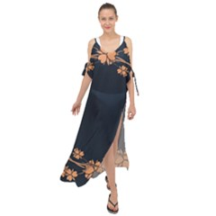 Floral Vintage Royal Frame Pattern Maxi Chiffon Cover Up Dress