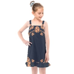 Floral Vintage Royal Frame Pattern Kids  Overall Dress