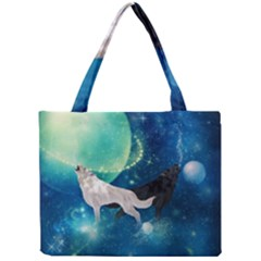 Awesome Black And White Wolf In The Universe Mini Tote Bag