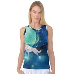Awesome Black And White Wolf In The Universe Women s Basketball Tank Top by FantasyWorld7