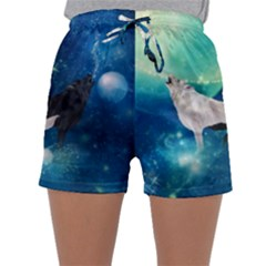 Awesome Black And White Wolf In The Universe Sleepwear Shorts by FantasyWorld7