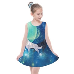 Awesome Black And White Wolf In The Universe Kids  Summer Dress