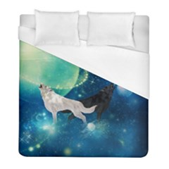 Awesome Black And White Wolf In The Universe Duvet Cover (full/ Double Size) by FantasyWorld7