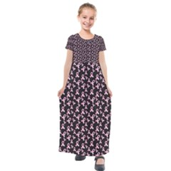 Breast Cancer Wallpapers Kids  Short Sleeve Maxi Dress