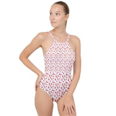 Cake Christmas Gingerbread Man Wallpapers High Neck One Piece Swimsuit