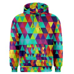 Bright Color Triangles Seamless Abstract Geometric Background Men s Pullover Hoodie