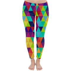 Bright Color Triangles Seamless Abstract Geometric Background Classic Winter Leggings
