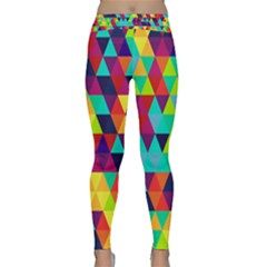 Bright Color Triangles Seamless Abstract Geometric Background Classic Yoga Leggings