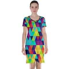 Bright Color Triangles Seamless Abstract Geometric Background Short Sleeve Nightdress
