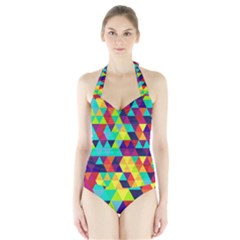 Bright Color Triangles Seamless Abstract Geometric Background Halter Swimsuit by Alisyart