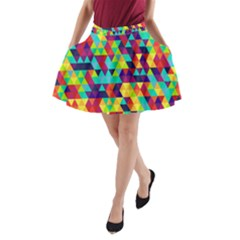 Bright Color Triangles Seamless Abstract Geometric Background A Line Pocket Skirt