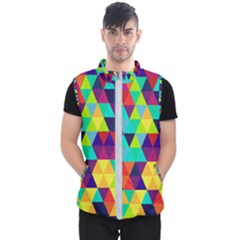 Bright Color Triangles Seamless Abstract Geometric Background Men s Puffer Vest