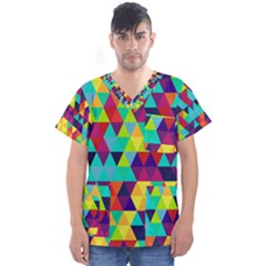 Bright Color Triangles Seamless Abstract Geometric Background Men s V Neck Scrub Top