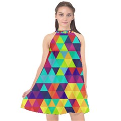 Bright Color Triangles Seamless Abstract Geometric Background Halter Neckline Chiffon Dress
