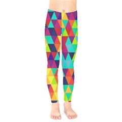 Bright Color Triangles Seamless Abstract Geometric Background Kids  Legging by Alisyart