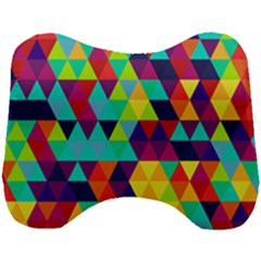 Bright Color Triangles Seamless Abstract Geometric Background Head Support Cushion by Alisyart